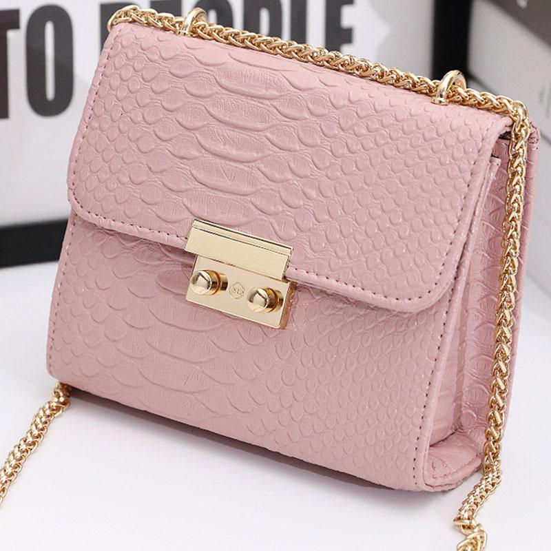 New Women Crossbody Bag Handbags Fashion Small Chain Bag Crocodile Pattern PU Leather Square Shoulder Messenger Bag For Ladies