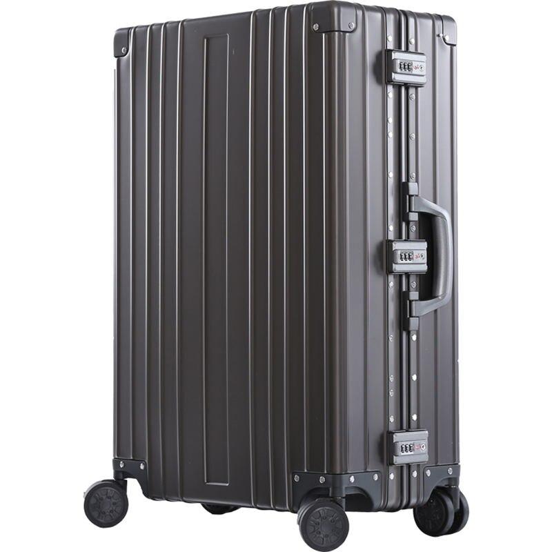 """20 """"26"""" 29 """"cal luksusowe aluminium ze stopu magnezu wózek bagaż mężczyźni firm w całości z metalu walizka kobiety podróż przypadku w Walizka na kółkach od Bagaże i torby na  Grupa 1"""