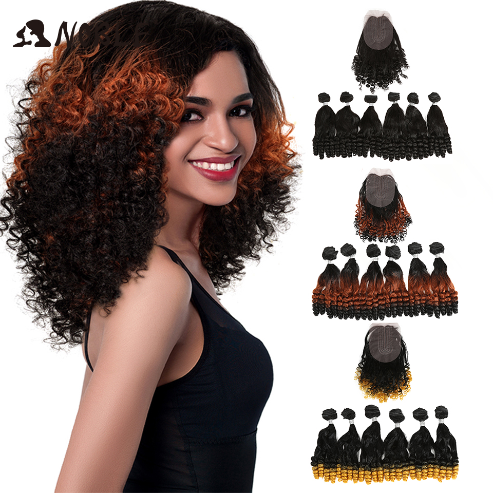 Noble Synthetic Hair Afro Kinky Curly Hair Ombre Hair Bundles  Extensions For Black Women Synthetic Hair Lace Front With Closure