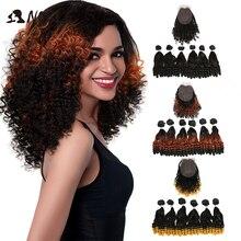 נובל סינטטי שיער האפרו קינקי מתולתל שיער Ombre שיער חבילות הרחבות עבור שחור נשים סינטטי שיער תחרה קדמי עם סגירה