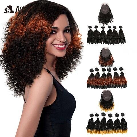 Pacotes de Extensões para Preto Frente do Laço com Fechamento Nobre Cabelo Sintético Afro Kinky Encaracolado Ombre Feminino