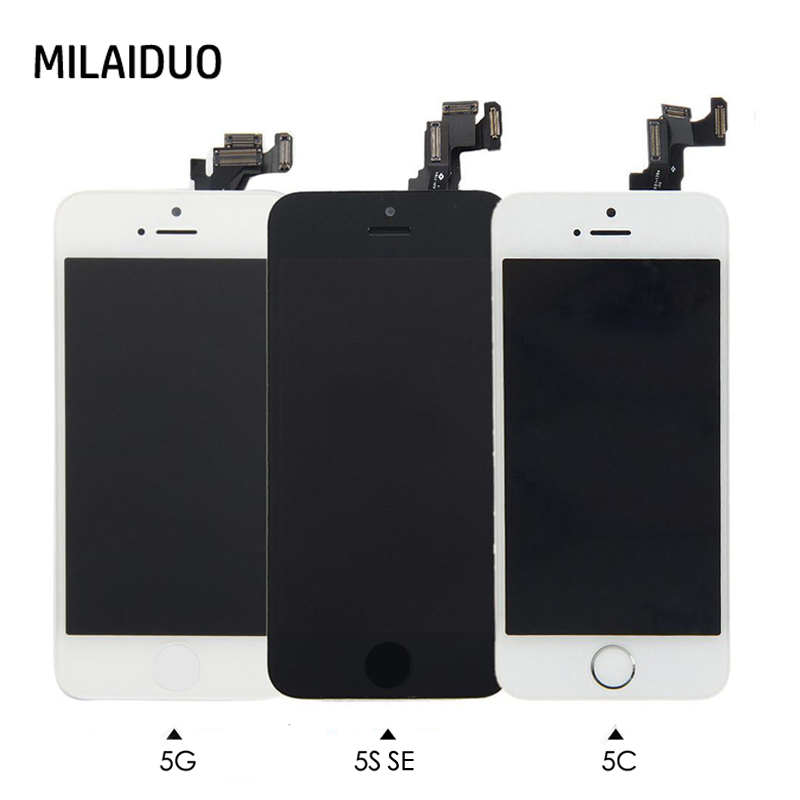 Full Replacement LCD Touch Screen Digitizer For iPhone 5 5s se 5c+Home Button+Front Camera+Ear Speaker Pre-Assembled