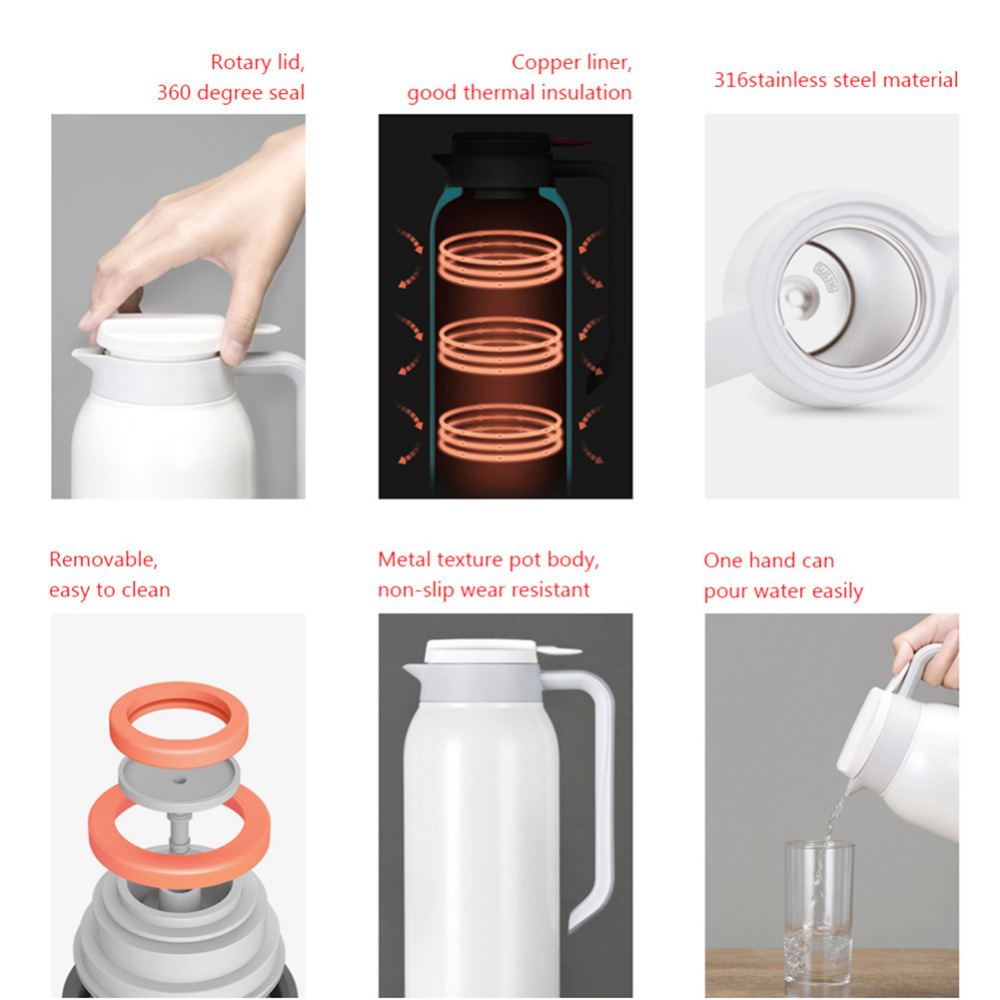 Xiaomi Mijia Thermos Cups 1.5L Stainless Steel Vacuum Thermos Bottle 24 Hours Flask Thermal Smart Insulation Water Kettle (8)