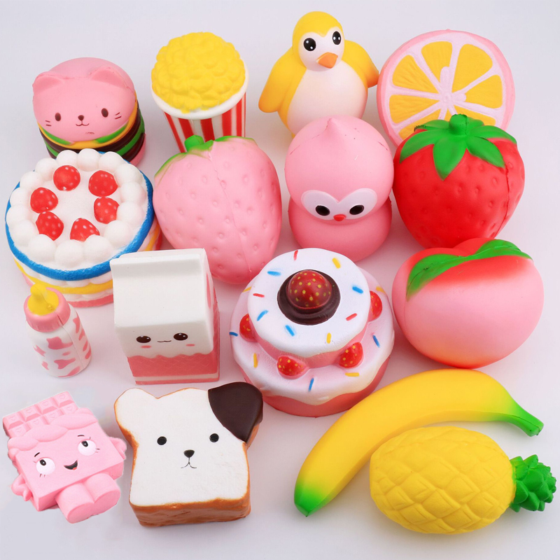 27 Style Funny Creative Squishy Simulation Strawberry Cake Toast Watermelon Pineapple Relieves Stress Toys Gift For Children #B
