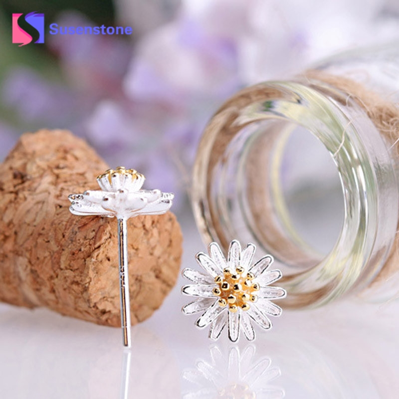2018 New Arrival New Cute Daisy Flower Ear Stud Jewelry Stud Earrings for Women Girls Earring Ear Stud Freeshipping
