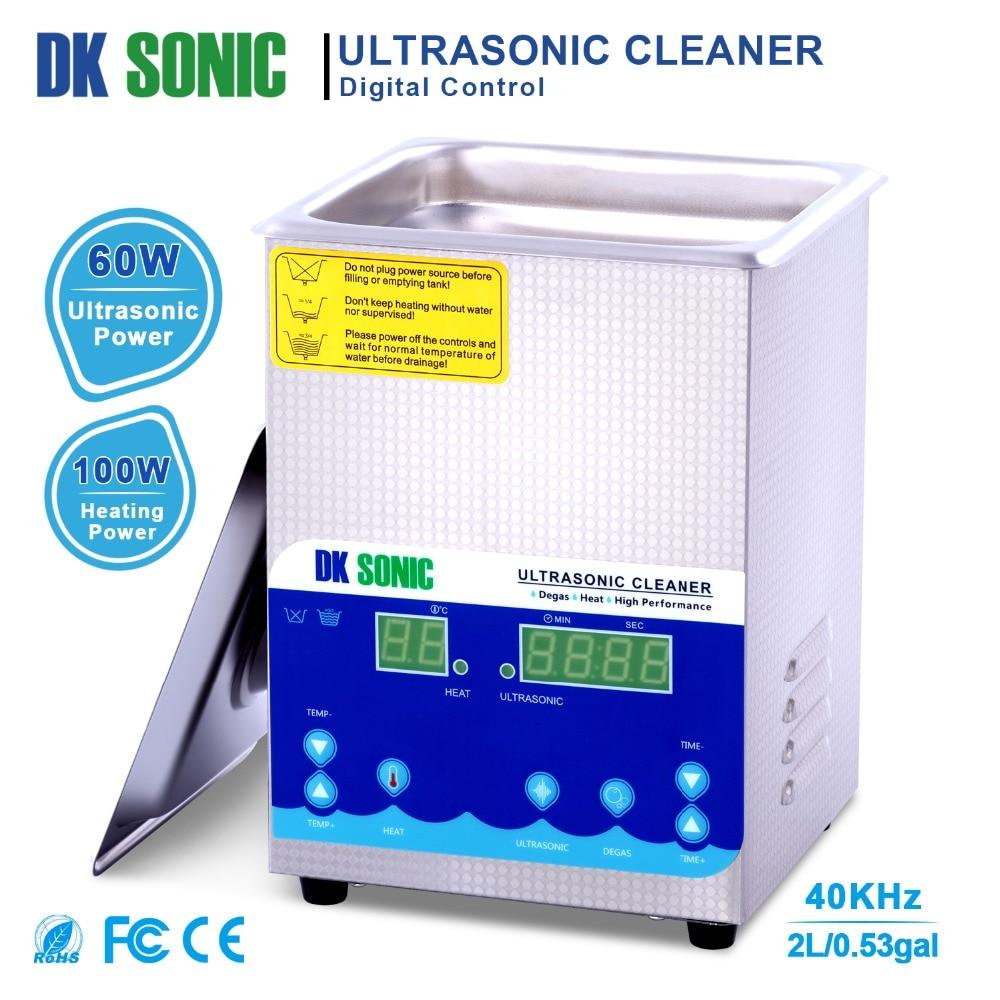 DK sonic 2L 60 w Ultra sonic Pulitore Degas Timer di Riscaldamento Ad Ultrasuoni per le Monete Dei Monili del Metallo Parti di Strumenti per Manicure Dentale occhiali da vista