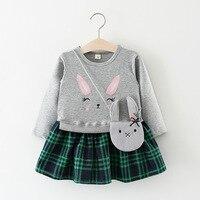 TOPATY 2018 Spring Newest Baby Girls Dress Long Sleeve Plaid Dresses Cute Rabbit Pockets Kids Clothing