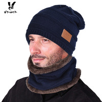 VBIGER 2pcs Men Warm Knitted Beanies Skullies Set With Circle Scarf Male Winter Thicken Hat Outdoor