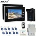JERUAN 7 ''Экран Видео Домофон Домофон Системы + 2 мониторы + RFID Водонепроницаемый Сенсорный клавиша Камеры + пульт дистанционного управления