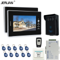 JERUAN 7`` Screen Video Intercom Entry Door Phone System + 2 monitors + RFID Waterproof  Touch key Camera+Remote control