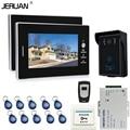 JERUAN 7`` Screen Video Intercom Entry Door Phone System + 2 monitors + RFID Waterproof  Touch key Camera+Remote control
