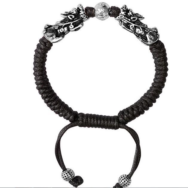 Image 3 - Handmade Good Luck Man Bracelet Fengshui Pixiu Bracelet 3D 999 Silver Wealth Pixiu Beaded Bracelet Man Gift-in Strand Bracelets from Jewelry & Accessories