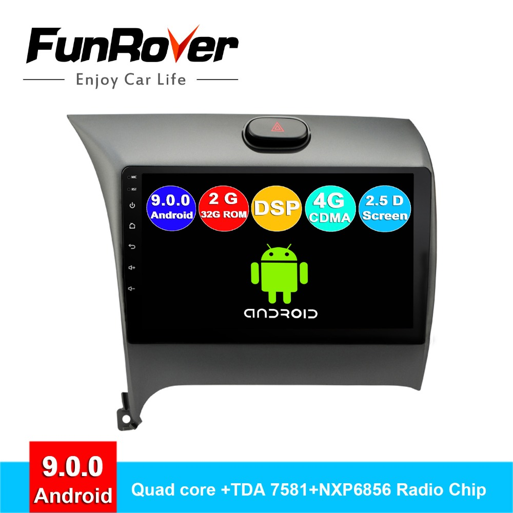 FUNROVER 2.5D+IPS Android 9.0 Car Radio Gps Player Dvd For Kia K3 Cerato Forte 2012-2016 Car Multimedia Navigation 2G RAM 32 ROM