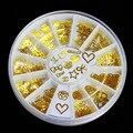 170-200 unids/rueda 12 estilos Por Mayor-3d Oro Rueda Tiny Pegatina Diseño de Acrílico Consejos de Metal Slice Nail Art, envío gratis