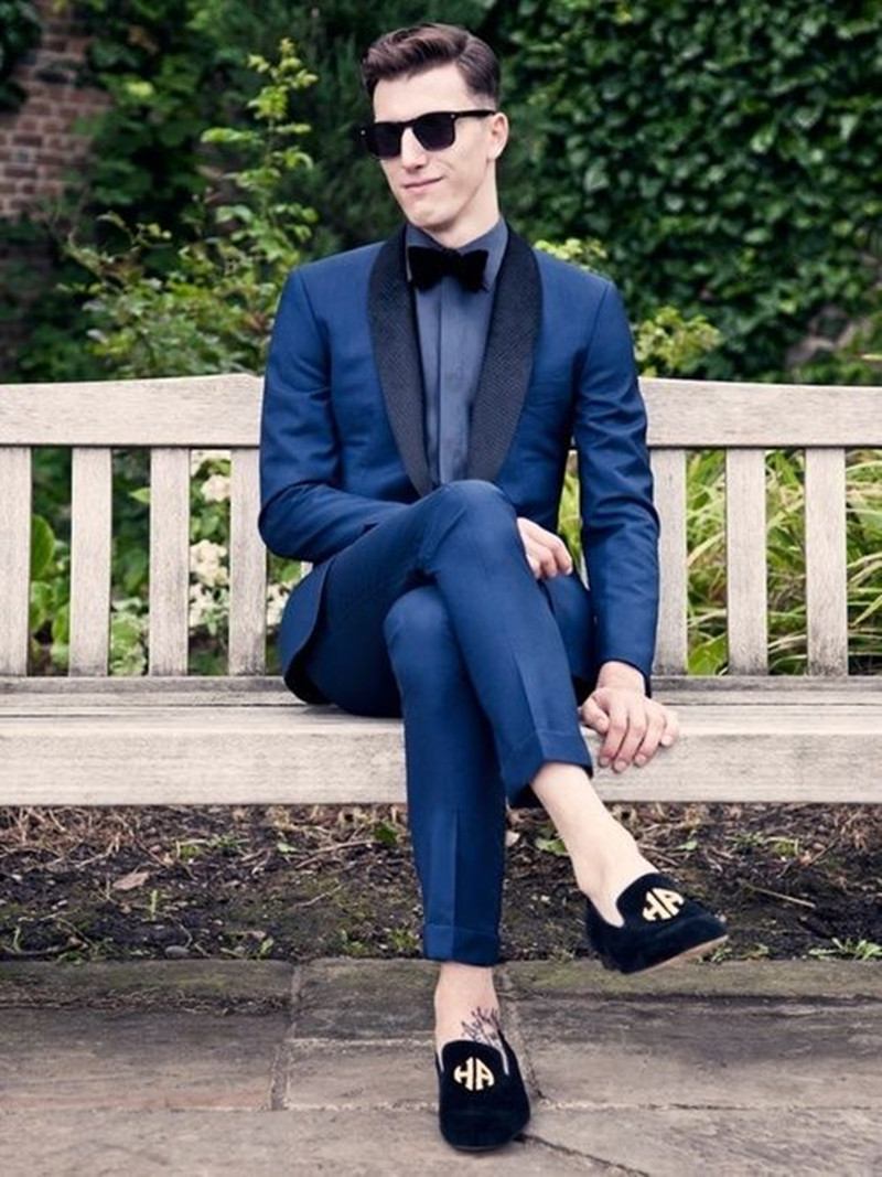 Navy Blue Shawl Lapel Men's Fashion Casual Business Suits Men Formal Groomsmen Tuxedos Suits 2 Piece Custom Made Terno Masculino