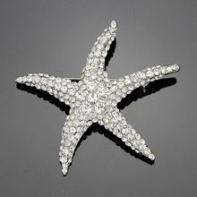 Moda Blanco Crystal Rhinestone Starfish broches para las mujeres Plateado pins hijab de Las Mujeres