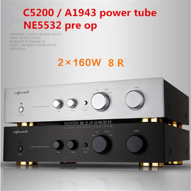 160W+160W 8R 2050 1943 / 5200 Power Tube  2.0 Channel HIFI Home Audio Merging Amplifier
