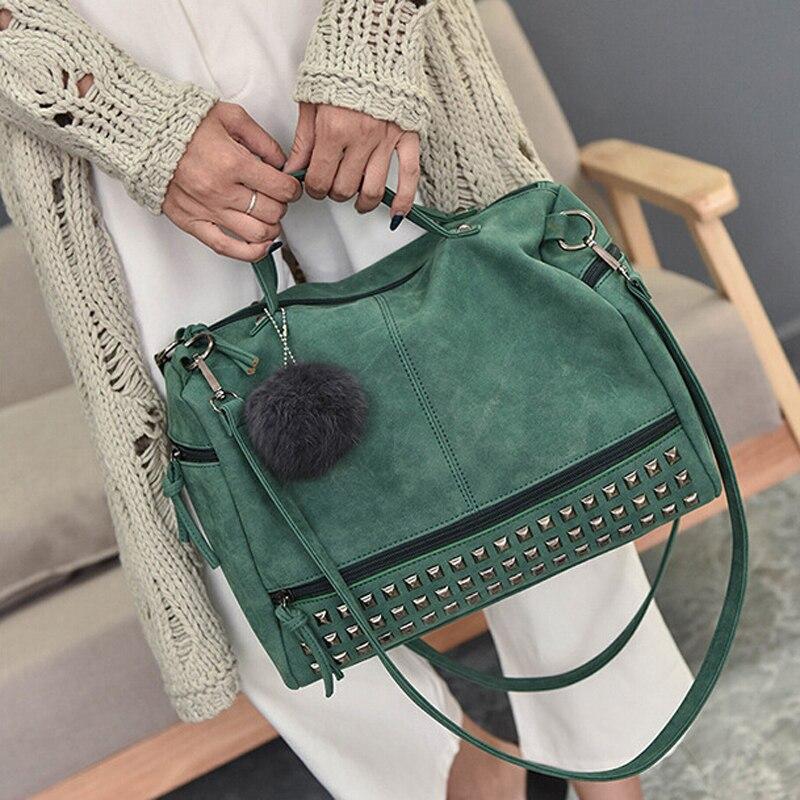 Vintage Nubuck Leather Ladies Handbags Rivet Larger Women Bags Hair Ball Shoulder Bag Motorcycle Messenger Bag New TopHandle Bag