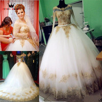 Custom Made Vintage Princess Wedding Dresses Long Sleeve Gold Lace Beading Bride Wedding Gown 2018 New Vestidos De Novia WD21