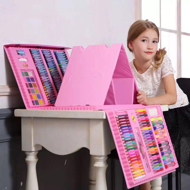 176 Uds., regalo para niños, pintura creativa, Graffiti, juego de pinceles de pintura, moda para niños, juguetes de entretenimiento diario, juegos de arte con caballete