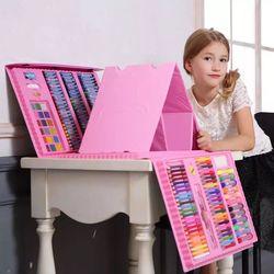 176 pçs crianças presente criativo pintura graffiti pincel conjunto moda crianças entretenimento diário brinquedo arte conjuntos com cavalete