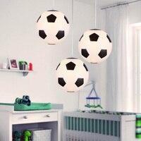 Creativo calcio e basket moderna led lampae a sospensione palla, led illuminazione lampada a sospensione paralume in vetro per ragazzi led lampada da soffitto