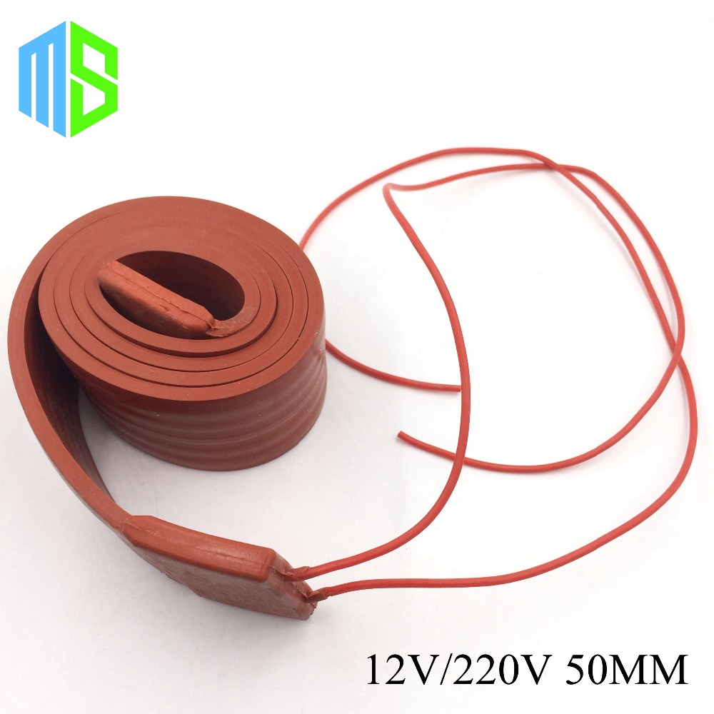 50MM 12V~220V Flexible Belt Silicone Rubber Heating Cable Silica Gel Heater Trace Wire Freeze Protection Water Pipe/Car/Battery 15mmx3m 240w 220v high quality flexible silicone heating belt heat tracing belt silicone rubber pipe heater waterproof electric