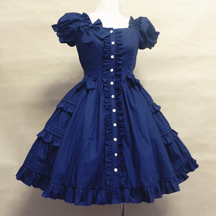 Printemps automne robe en popeline de coton robe à volants robe Lolita costume fille robe douce en vente
