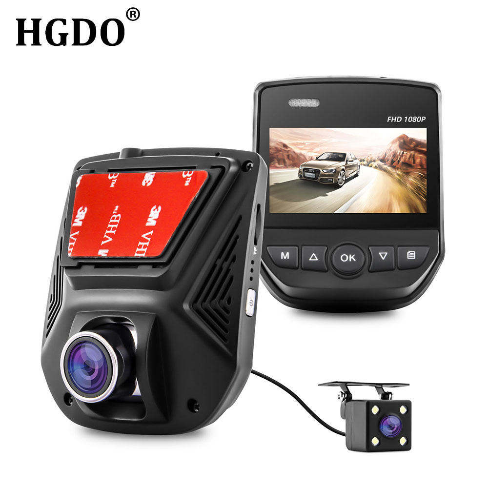 HGDO Dual Lens Car Camera FHD 1080P Car DVR Novatek 96658 LCD Screen Sony IMX323 Car Video Recorder Dash Cam With Rear Camera bigbigroad for subaru xv wifi car dvr fhd 1080p video recorder hidden installation g sensor novatek 96658 black box dash cam