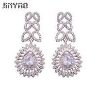 JINYAO Elegant Water Drop Shaped Cubic Zirconia Bridal Long Earrings Luxury Wedding Jewerly For Brides