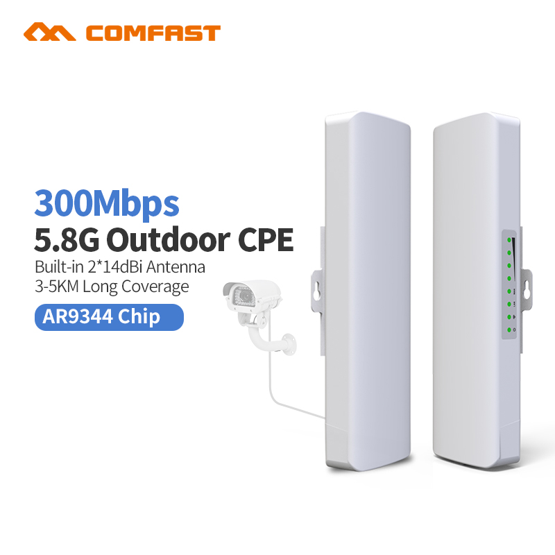 2Pcs 5.8G COMFAST CF-E312A Wireles outdoor CPE poe access point Antenna wi fi router 300M repetidor wifi receiver long Distance 2 4g 3dbi wi fi antenna black