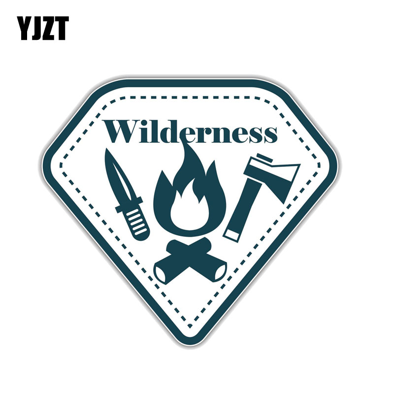 YJZT 15.2CM*14CM  Wilderness Mountain Hiking Camping Climbing PVC Motorcycle Car Sticker 11-00773