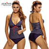 2017 Sexy Nautical Striped Tankinis Swimsuit Women Plus Size Two Pieces Swim Wear Push Up Halter