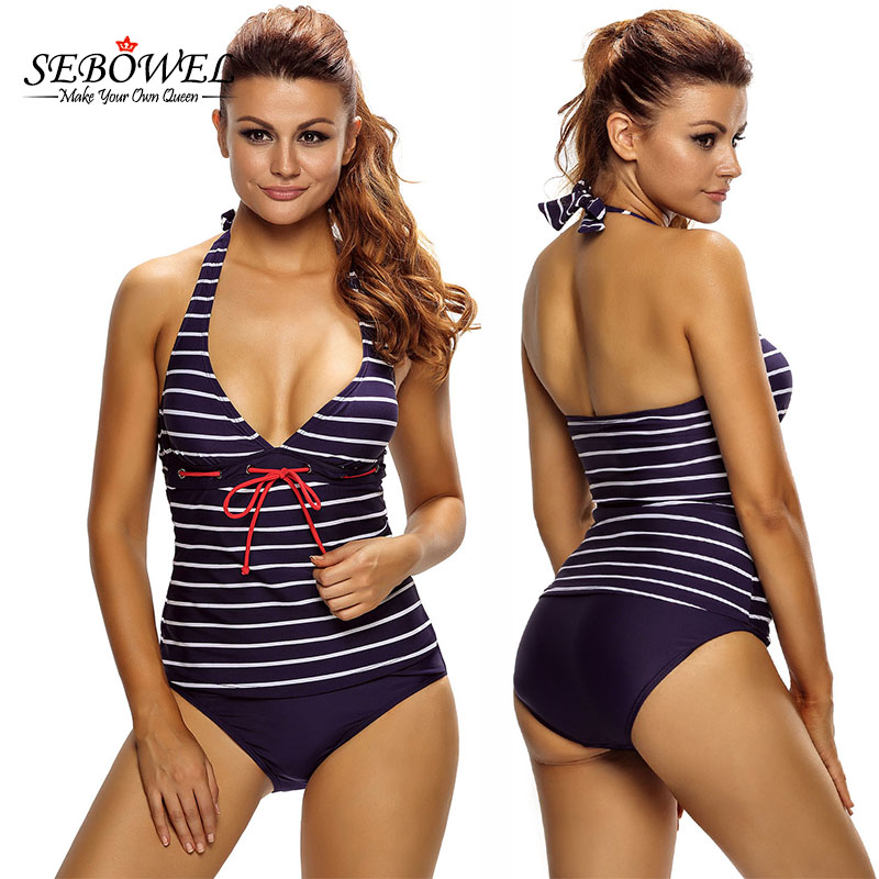 SEBOWEL Sexy Nautical Striped Tankinis Swimsuit Women Plus Size 2 Pieces Swimwear Push Up Halter Tankini Bikini Set Bathing Suit