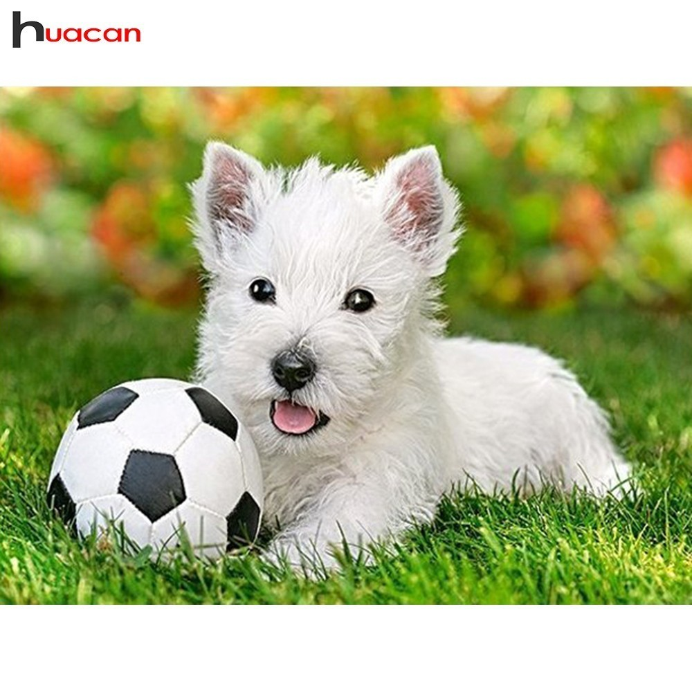 HUACAN 5D DIY Diamond Painting Animals Cartoon Full Square/Round Drill Dogs Mosaic Diamond Embroidery Soccer Decoration HomeHUACAN 5D DIY Diamond Painting Animals Cartoon Full Square/Round Drill Dogs Mosaic Diamond Embroidery Soccer Decoration Home