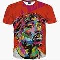 Хип-Хоп Футболки мужчин 2016 Новый бренд моды 3d футболки печать рэппер Тупак 2Pac лето топы тис тонкий футболка