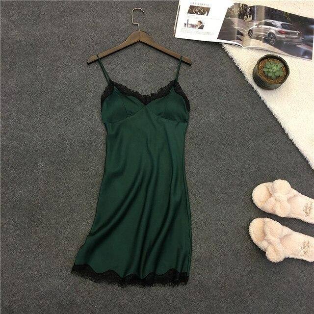 Sexy Women's Nightgown 2017 Summer / Spring New Design Casual Sleepwear Sleepdress Wholesale Price Lace Silk Satin Nightwear Hot