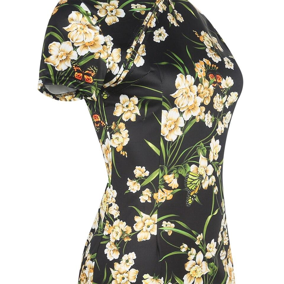 Oxiuly sieviešu modes kleita Vintage Bodycon kleitas ziedu apdruka - Sieviešu apģērbs - Foto 5