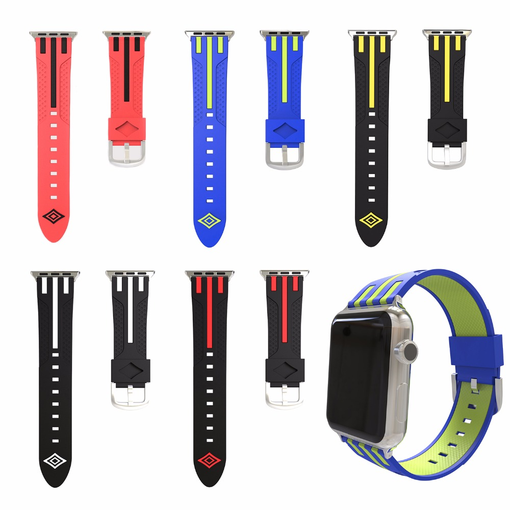 Striped Silicone Band Strap for Apple Watch 38/42mm Series 1 2 3 Double Color Mixed Rubber Sports Belt Bracelet I279. eache silicone watch band strap replacement watch band can fit for swatch 17mm 19mm men women
