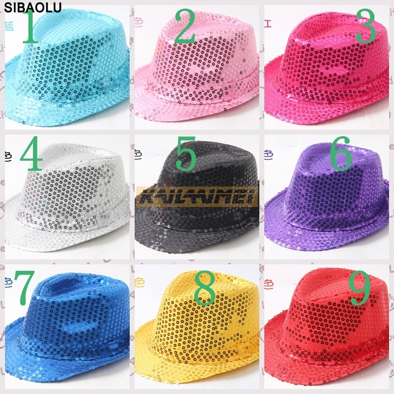50pcs adult women men fedoraflashing sequins jazz cap hip hop hat party birthday hats cap christmas wedding in party favors from home garden on