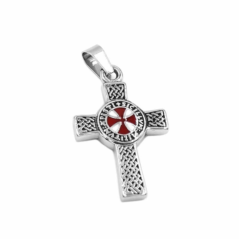 Fashion Celtic Knot Red Cross Pendant Stainless Steel Jewelry Templar Armor Shield Knight Cross Men Pendant Wholesale 495B