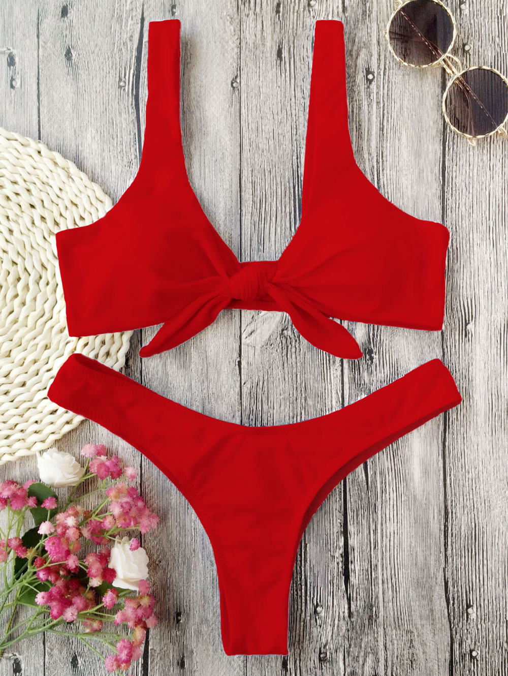 Knotted Scoop Neck Solid Bikini Set