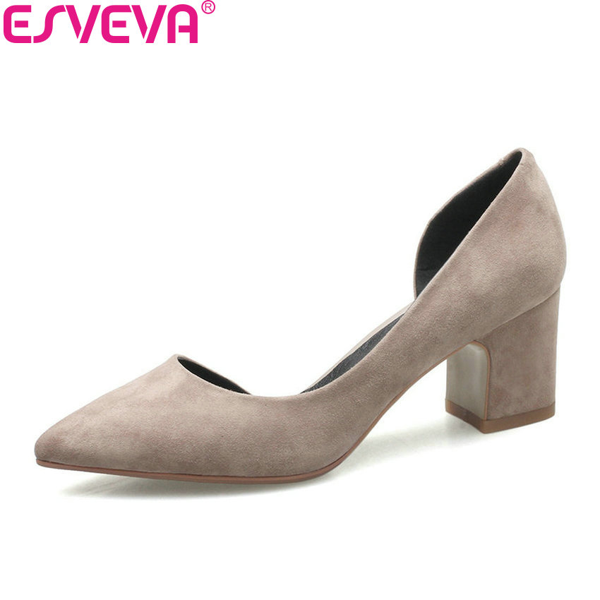 ESVEVA 2017 Women Pumps Square Heels Western Style Pointed Toe High Heels Shoes Slip on Concise Pumps Shoes Women Size 34-39 esveva 2018 women pumps elegant butterfly knot pointed toe square high heels pumps suede slip on pumps women shoes size 34 39