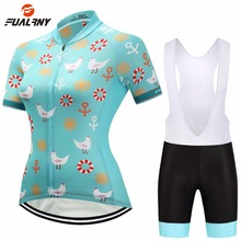 FUALRNY Team PRO Women's Short Sleeve Cycling Jersey Set Bib Shorts Bike Bicycle Sportswear Ropa Ciclismo Cycle Clothing Sets недорго, оригинальная цена
