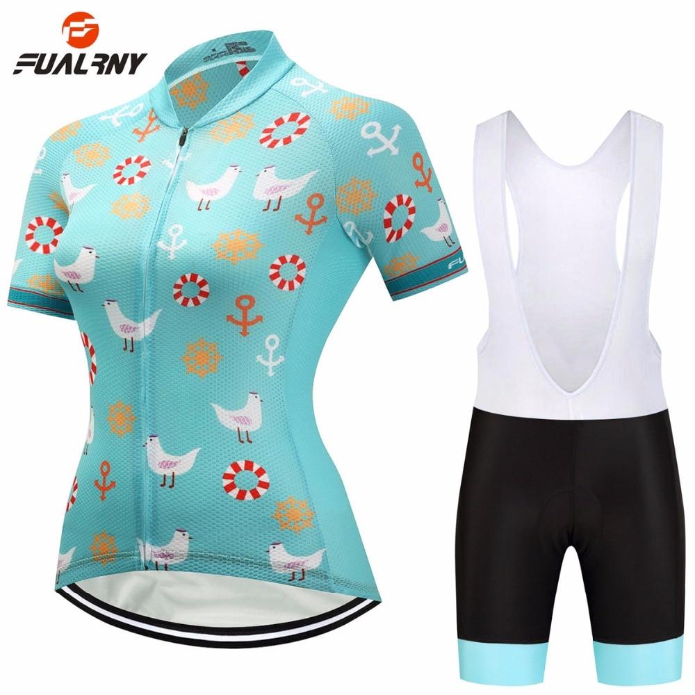 FUALRNY Team PRO Womens Short Sleeve Cycling Jersey Set Bib Shorts Bike Bicycle Sportswear Ropa Ciclismo Cycle Clothing Sets