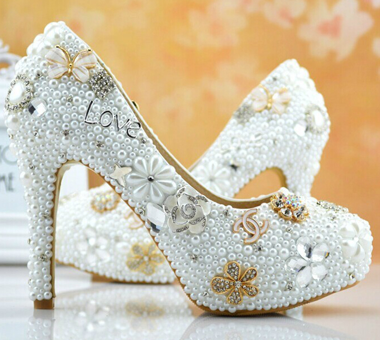 Gorgeous Sparkling full Pearls high heel Wedding Dress Shoes lady's formal Jeweled Women's Beaded Bridal pearls beaded detail knit tee