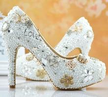 Luxus Beliebte Formale Schuhe voll Perlen high heel dame formale Jeweled Frauen Perlen Braut Hochzeit Prom Party Brautjungfer schuhe