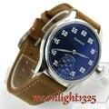 Люксовый бренд parnis 44 мм синий циферблат из нержавеющей стали полированный корпус 17 драгоценностей 6498 с ручным заводом мужские часы