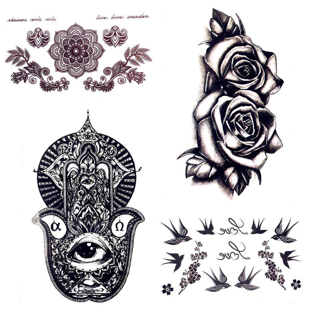 43c8d71d3 Detail Feedback Questions about 10.5x6CM Small Hamsa Hands Temporary Tattoo  Stickers Henna 3D Black Rose Waterproof Tattoo Women Body Art Tattoo Girl  Neck ...
