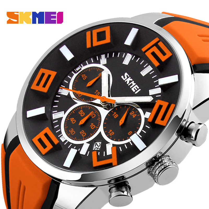 Fashion Skmei Stop Watch Top Luxury brand Watches Men Silicone strap casual watches for men waterproof Quartz-watch Clock man skmei luxury brand stainless steel strap analog display date moon phase men s quartz watch casual watch waterproof men watches